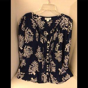 Escapada  blue/white top 3/4 sleeves small